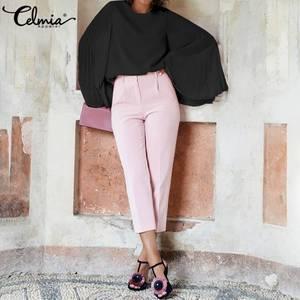 Image 3 - Celmia 2020 スタイリッシュなロングフレアスリーブレースブラウス女性プリーツシフォン blusas カジュアル固体エレガントなシャツプラスサイズ