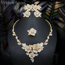 ModemAngel Trendy Luxury 4PCS Flower Nigeria Statement Jewelry Sets For Women Wedding Full Cubic Zircon Dubai Bridal jewelry Set