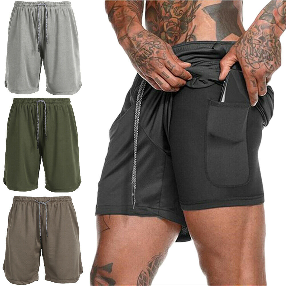 Mens 2 In 1 Fitness Running Shorts Camouflage Quick Drying Training Bodybuilding Shorts Workout Jogging Fitness Gym Shorts