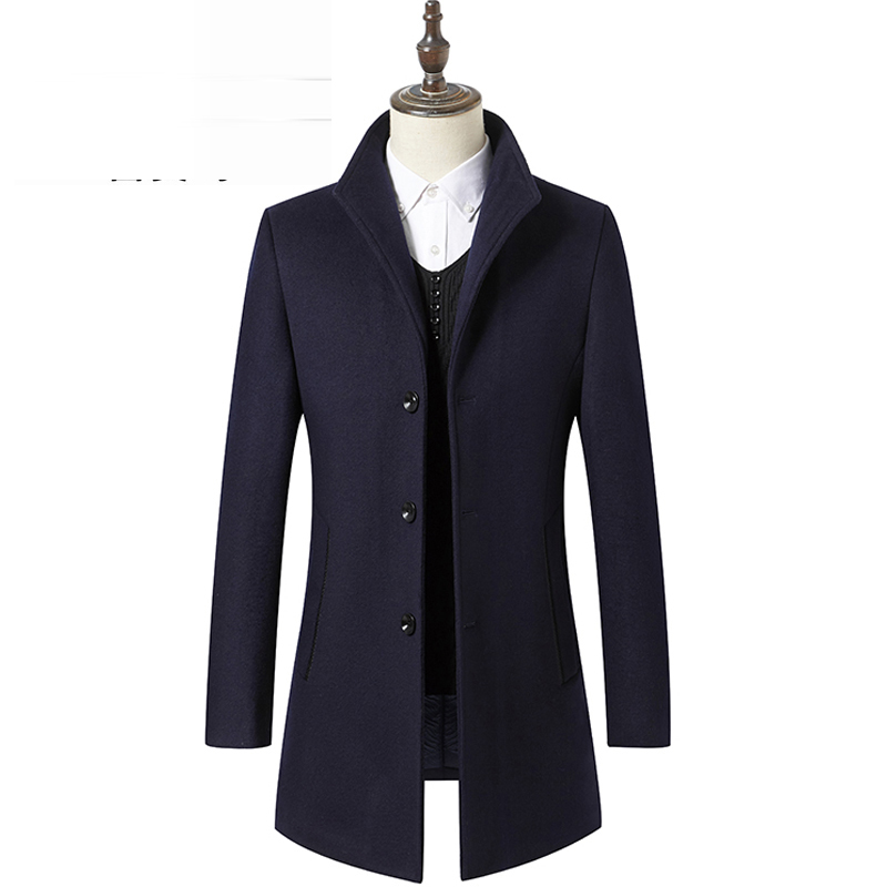 Woolen coat men's thickened mid long slim windbreaker Korean men's autumn and winter coat