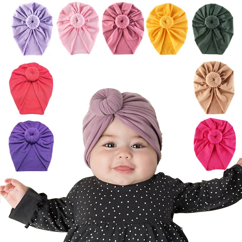 Infant Baby Headbands Solid Cotton Kont Turban Headband For Girls Spandx Stretchy Beanie Hat Headwear Baby Hair Accessories