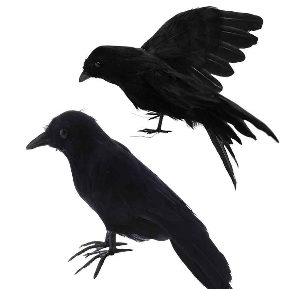 Artificial Crow Black Bird Raven Prop Decor For Halloween Display Event Party Home Bar Decoration Supplies Gift