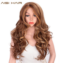 AISI HAIR Long Wavy Natural Hair Wig Mixed Dark Brown Synthetic Wigs For Black Women Side Part Blonde Wigs Heat Resistant Fiber цена в Москве и Питере