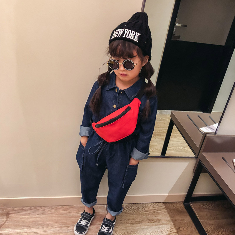 New Child Waist Bag For Kid Girl Chest Bag Unisex Fanny Pack High Capacity Solid Color Bum Bag Kidney Banana Bags Crossbody Bag