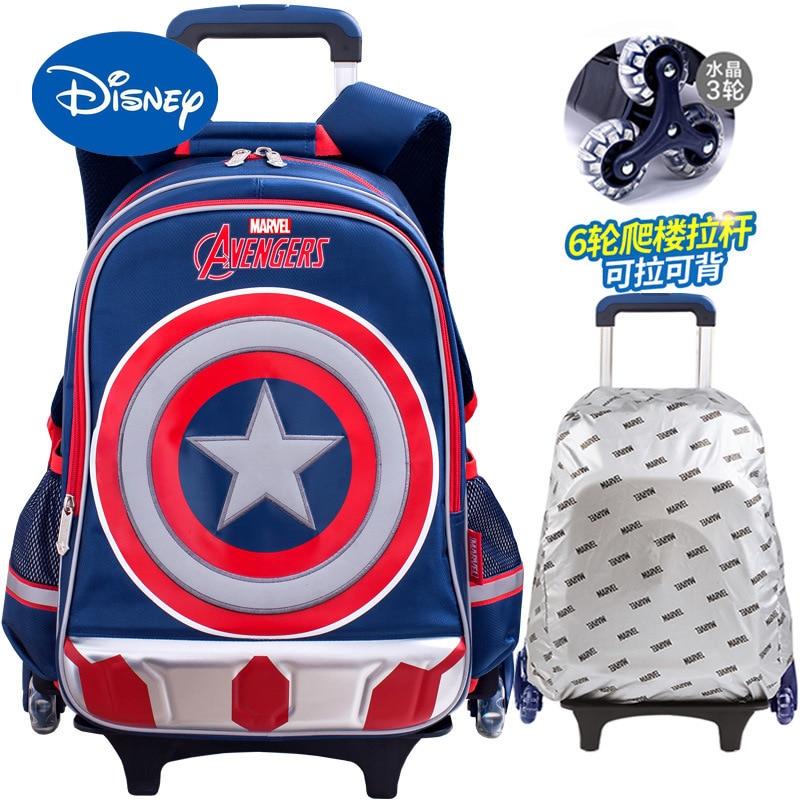 Authentic Disney Marvel Captain America Children's Schoolbag Elementary School Trolley Roller Schoolbag Boys Backpack