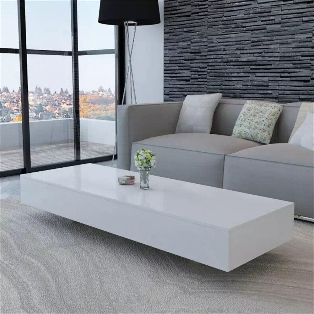 Table basse haute qualité VidaXL Tables de salon rectangulaires Table basse verre blanc Table d'appoint MDF meubles de salon