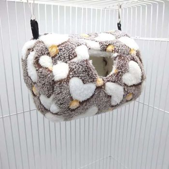 Parrot Nest Bed Winter Plush Warm Hanging Cave Cage Hammock House for Hamster 3