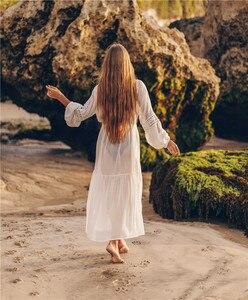 Image 2 - Weiß Spitze Strand Kleid Für Frauen Lange Kaftan Sonne Beachwear Kleider 2020 Sommer Sommerkleider Plus Größe Tunika Robe Blanche Saida de