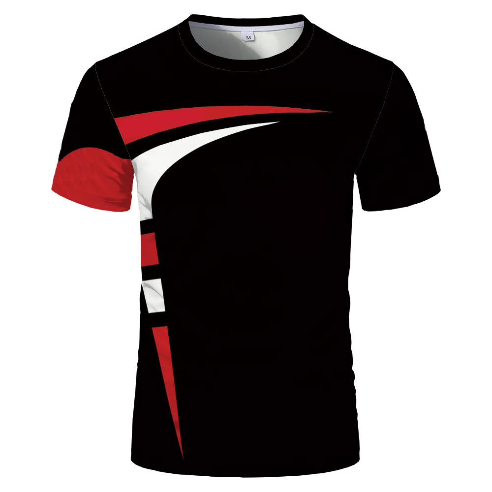 Fashion new 3D printing summer hot sale short sleeved round neck men and women same sports T shirt