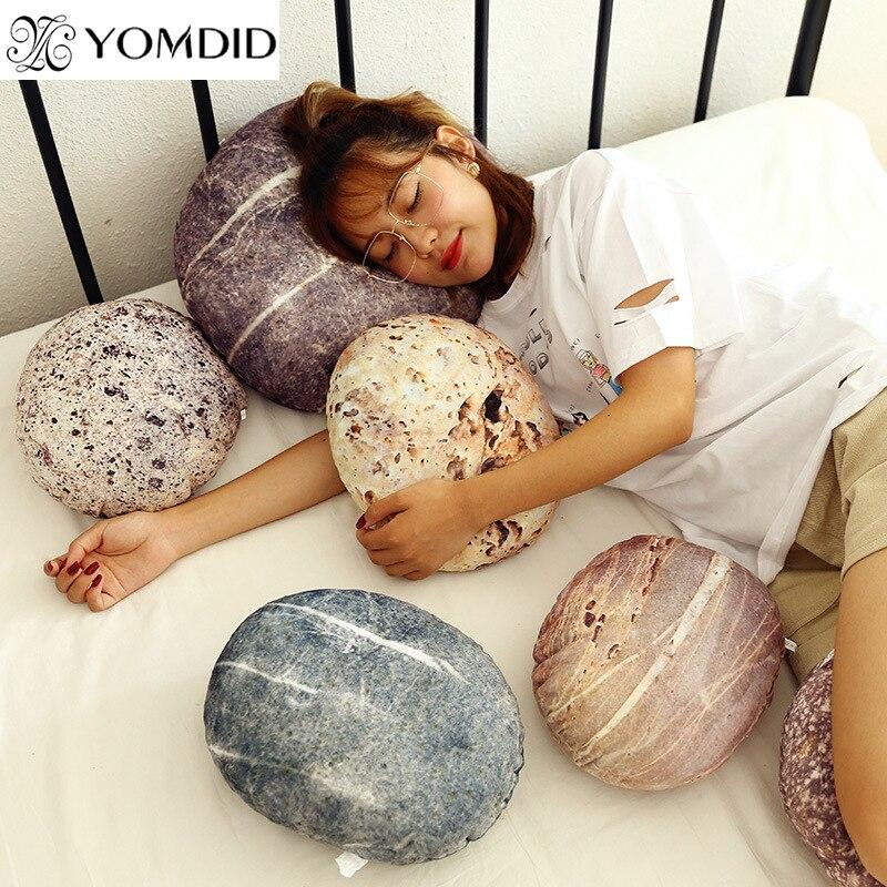 Simulational Stone Shape Pillow Creative Plush Pillow Marble Pattern Living Room Short Plush Cushion Birthday Gift for Children