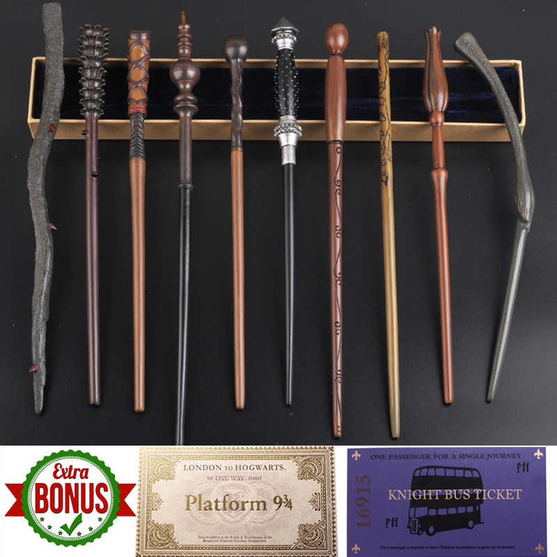 35-42 ซม.โลหะ Core Magic Wand 28 Potters คอสเพลย์ Dumbledore Voldemorte Malfoy Snape Wands Harried Magical Wand โบนัส