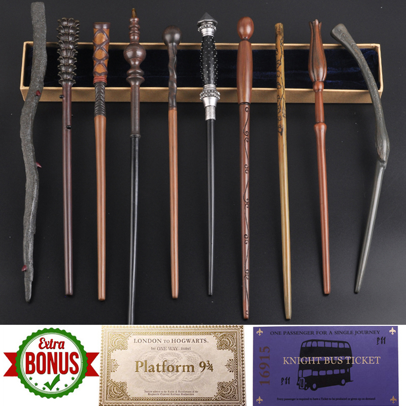 35-42cm Metal Core Magic Wand 28 Kinds Potters Cosplay Dumbledore Voldemorte Malfoy Snape Wands Harried Magical Wand With Bonus