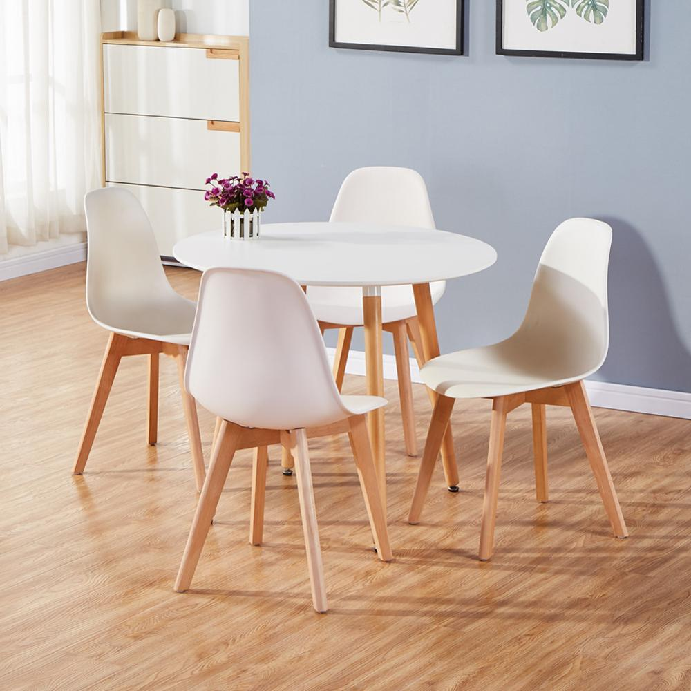 Goldfan Modern Round Glass Dining Table Retro Style Small Kitchen Round Table With Wood Metal Legs For Home Kitchen Dining Room Office Home Kitchen Dining Room Furniture