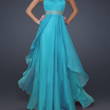 free shipping 2018 new design hot seller Elegant Strapless aqua bandage long party gown with crystal