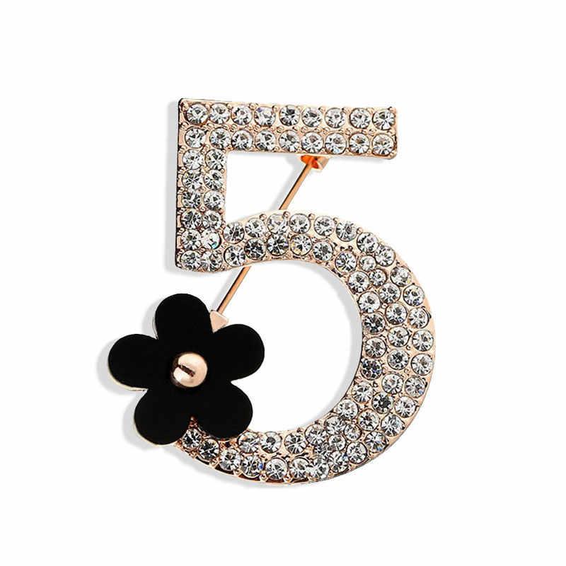 Mewah Merek Bros Huruf 5 Penuh Kristal Berlian Imitasi Bros Pin untuk Wanita Pesta Jumlah Bunga Bros