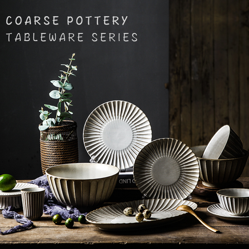 FANTERCY Personality Creative  Set Eating Dishes Set Household Eating Dish Japanese Style Retro  Cutlery Dishes and Plates Sets