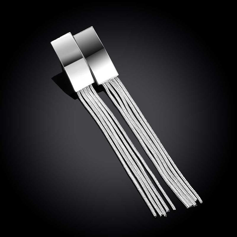 925 Sterling Silver Earrings Long Tassel Fashion Temperament For Women Jewelry