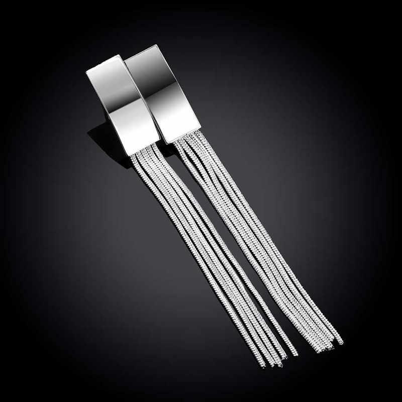 925 スターリングシルバーイヤリングロングタッセル銀のイヤリングファッションシルバーイヤリング気質のイヤリング女性シルバージュエリー