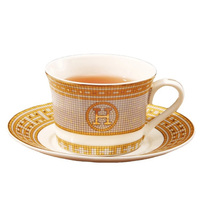 H Mark Top Grade Bone Porcelain Coffee Cups Vintage Ceramic Cups On glazed Advanced Tea Cups And Saucers Sets Luxury Gifts