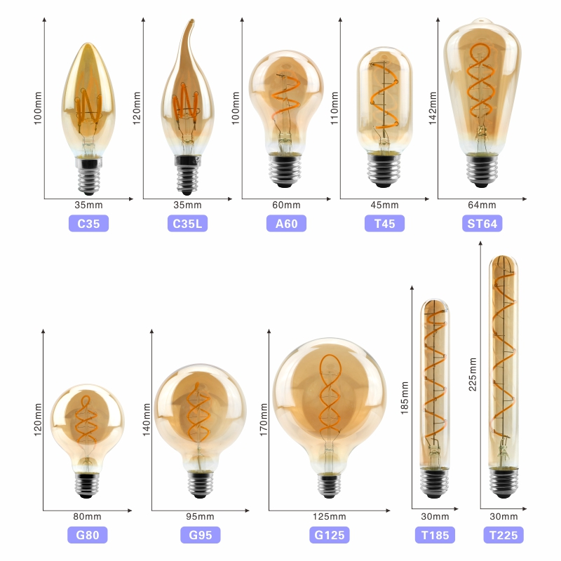 Image 2 - Retro Vintage Edison Bulb 4W 220V Dimmable Edison lamp E14 E27 2200K LED Spiral Filament Light Bulb Led Retro Lamp Decor-in LED Bulbs & Tubes from Lights & Lighting