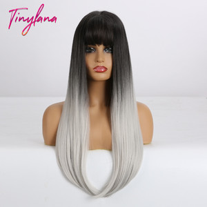 Image 2 - TINY LANA Long Colorful Straight Synthetic Wigs Black Ombre Brown with bangs for Black Women Heat Resistant Party&Cosplay Hair