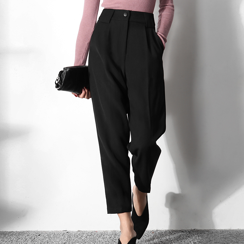 LANMREM Can Ship 2020 Spring Summer Fashion New Black Ankle-length Haren Pants Women High Casual All-match Trousers Famale YJ078