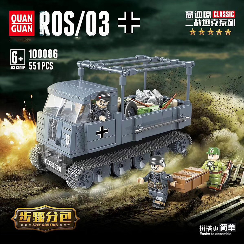WW2 Military German Half Tracked Vehicle ROS/03 Building Blocks WW2 Army Soldier Truck Weapon Accessory Bricks Toys For Children