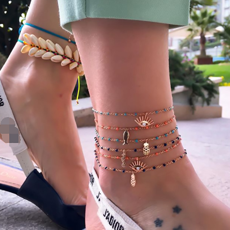 Meetvii 1pcs Fashion Sea Animal Charm Anklet Gold Cute Fish Seahorse Eye Pineapple on Foot Ankle Bracelets Women Beach Jewelry