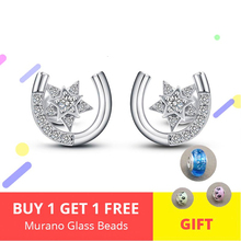 Horseshoe Star Earrings Authentic 925 Sterling Silver Cubic Zirconia Stud For Women Jewelry Lover Gift