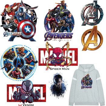Nicediy Marvel Patch Iron on Patches for Clothes Movie Heat Transfer Vinyl Sticker The Avengers Thermal Applique Stripe