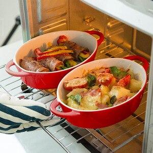 Бытовая Западная пищевая тарелка микроволновая бинауральная одноцветная овальная форма для выпечки керамическая чаша для выпечки