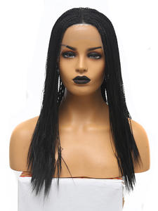 Charisma Braided Wigs Baby-Hair Black Synthetic Heat-Resistant Middle-Part Lace-Front