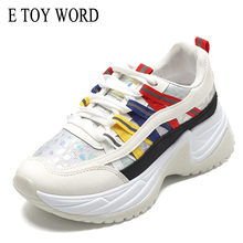 E TOY WORD Women Sneakers Daddy Shoes Large size 41 White Casual Womens Platform basket femme