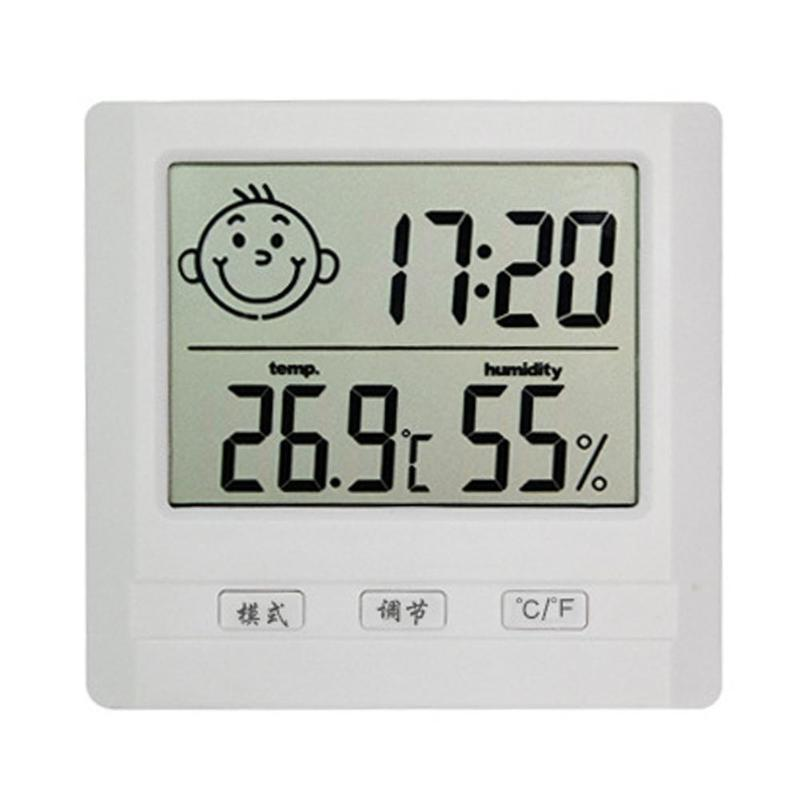 Automatic Electronic Thermometer Hygrometer LCD Digital Clock Plastic Multi-functional Home Measuring Tool 82 x 78 x 20mm