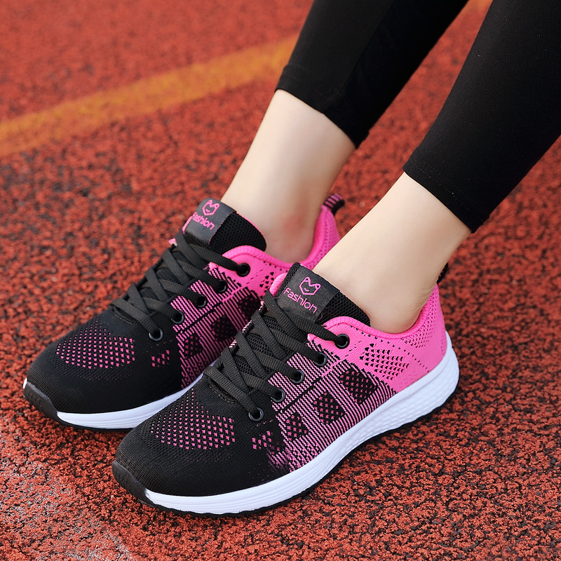 2020 Women Shoes Flats Fashion Casual Ladies Walking Woman Lace-Up Mesh Breathable Female Sneakers Zapatillas Mujer Feminino