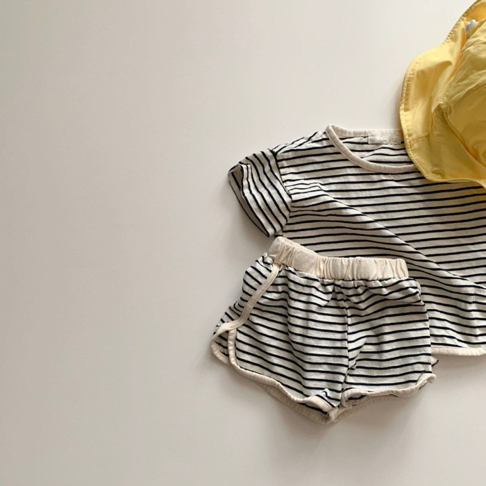 Infants Summer Clothing Sets 2020 Summer Striped T-shirts Shorts 2pcs Korean Style Toddlers Kids Loose Outfits Cute Suits