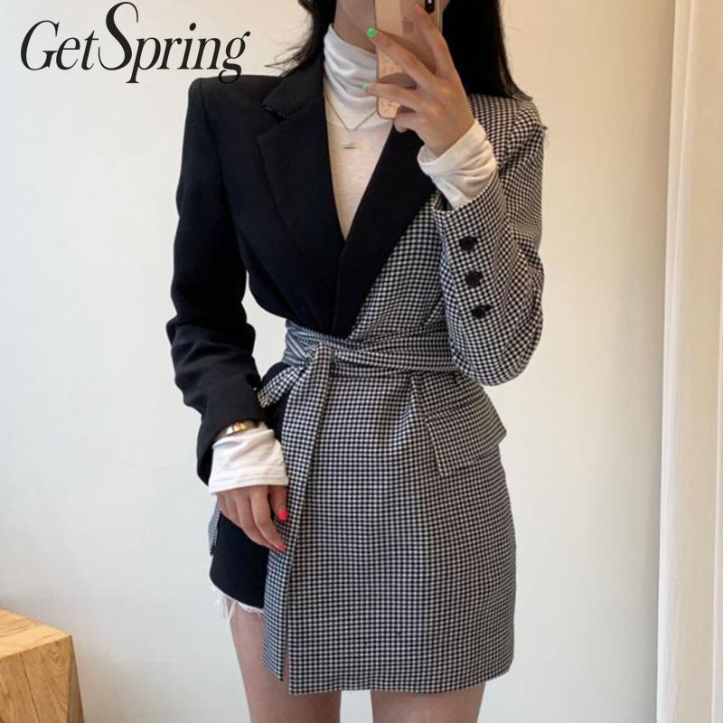 GETSPRING Women Blazer Plaid Patchwork Color Matching Irregular Women Blazers Jackets Asymmetry Bandage Vintage Suit Coats 2019