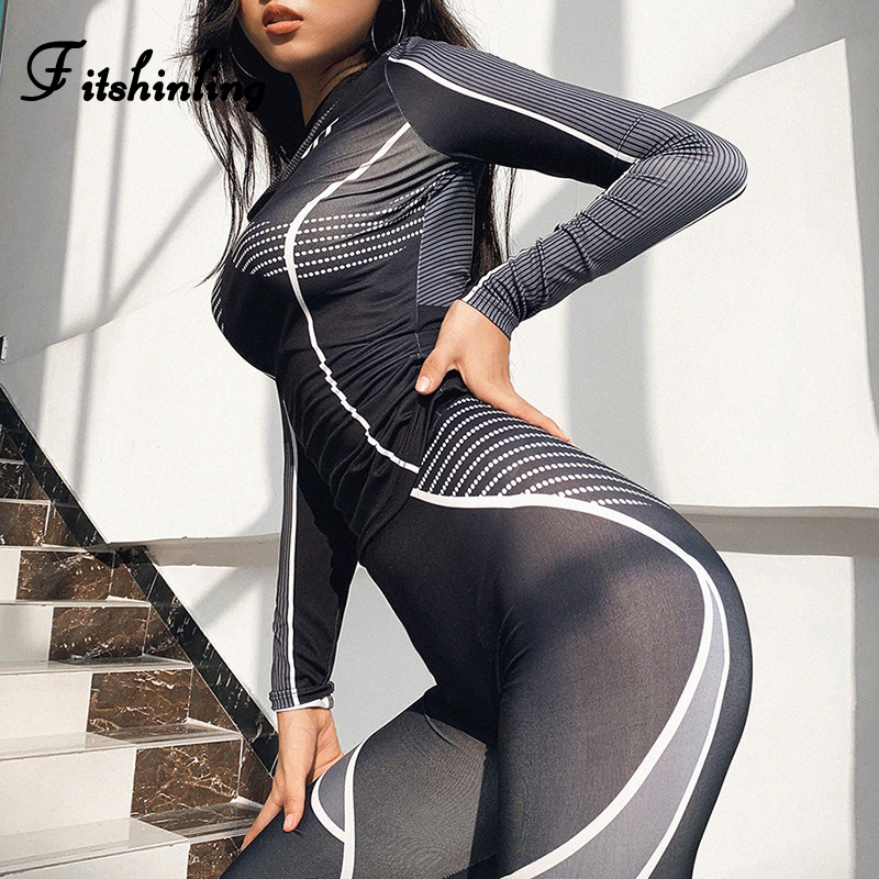 Fitshinling New Arrival 2020 Tracksuit Push Up Striped Letter Black Matching Sets 2 Piece Outfits Sportswear Athleisure Suits