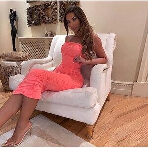 Image 2 - NewAsia 2 warstwy biała letnia sukienka kobiety 2020 elegancka Ruched Maxi sukienka różowa strona długa sukienka Sexy sukienki kobieta Party Night