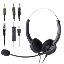 헬리컬 싱글 Aux/듀얼 Aux/USB/RJ9 케이블이있는 콜 센터 헤드폰 잡음 제거 마이크 8 시간 고객 서비스 통화 헤드셋