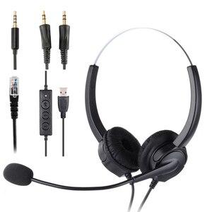 Image 1 - Наушники для колл центра с спиральным одиночным Aux/двойным Aux/USB/RJ9 кабелем, шумоподавляющим микрофоном, 8 часов работы, гарнитура для звонков по обслуживанию клиентов