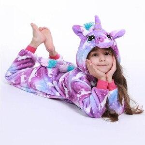 Image 5 - Pyjama hiver pour garçons, pyjama Cosplay à la couture, vêtements de nuit, licorne, pyjama Kigurumi pour enfants 4 12 ans