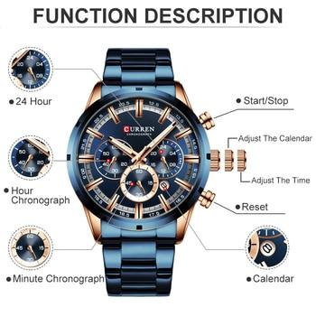 CURREN Men Watch Top Brand Luxury Sports Quartz Mens Watches Full Steel Waterproof Chronograph Wristwatch Men Relogio Masculino 3