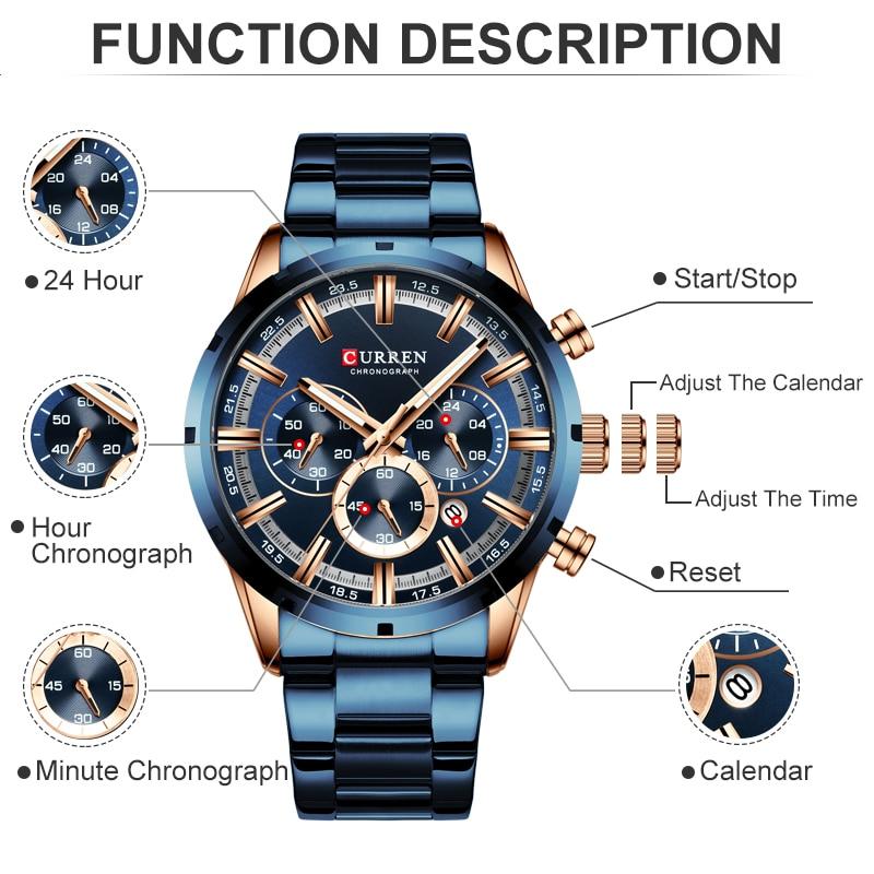 Image 3 - CURREN Men Watch Top Brand Luxury Sports Quartz Mens Watches Full Steel Waterproof Chronograph Wristwatch Men Relogio Masculino-in Quartz Watches from Watches