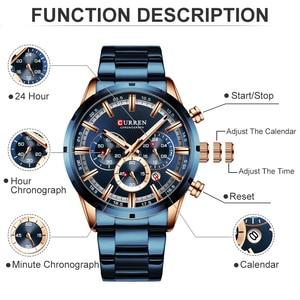 Image 3 - CURREN Relógio de pulso esportivo de luxo de quartzo para homens, a prova dágua, cronógrafo, todo de aço, masculino