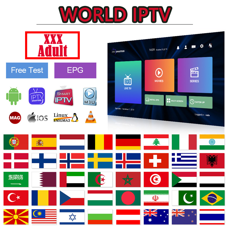Europe IPTV Subscription M3U IPTV XXX Netherland Spain Italy Poland UK Albania EXYU Sweden For Smart Tv Android 4K IP TV Code