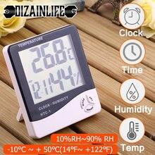 LCD elektroniczny cyfrowy miernik temperatury i wilgotności wielofunkcyjny zewnętrzny termometr pokojowy higrometr stacja pogodowa z zegarem