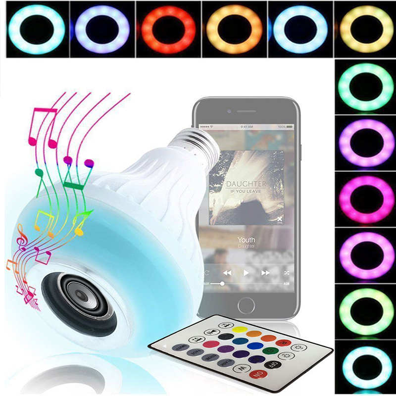 Smart LED Music Bulb E27 Audio Gift KTV Lamp LED Speaker Wireless Bluetooth 4.0 Bar Home LED Loudspeaker Remote Control Light