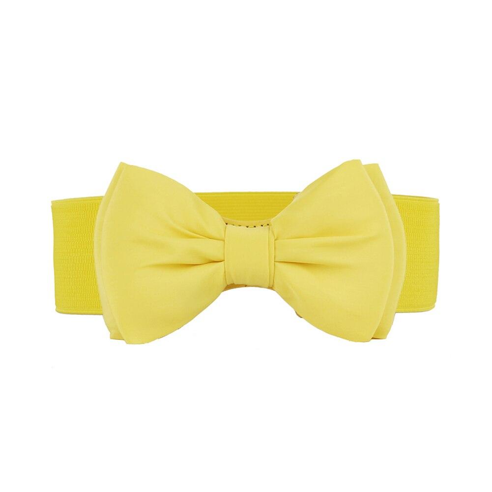 Womens Chiffon Bowknot Elastic Bow Wide Stretch Bukle Waistband Waist Belt HSJ88