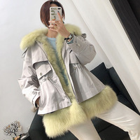 Plus Size Women Real Fur Lined Parka Coat Ladies Loose Winter Warm Real Fur Jackets Ladies Oversized Fashion Thick Fox Fur Coats